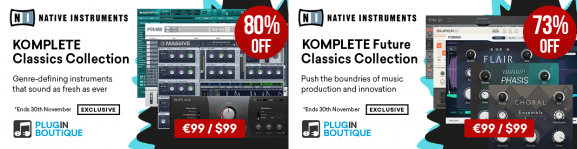 KOMPLETE Classics Collection and Future Classics Collection from Native Instruments is up to 80% off on Plugin Boutique